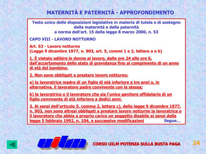 MATERNITÀ E PATERNITÀ - APPROFONDIMENTO
