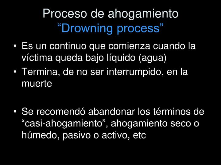 Proceso de ahogamiento