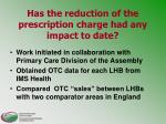 has the reduction of the prescription charge had any impact to date