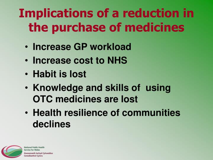 Implications of a reduction in the purchase of medicines