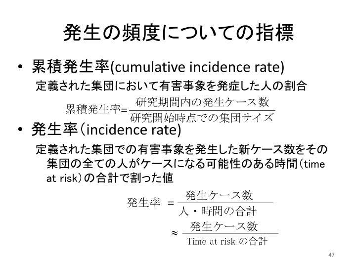 発生の頻度についての指標