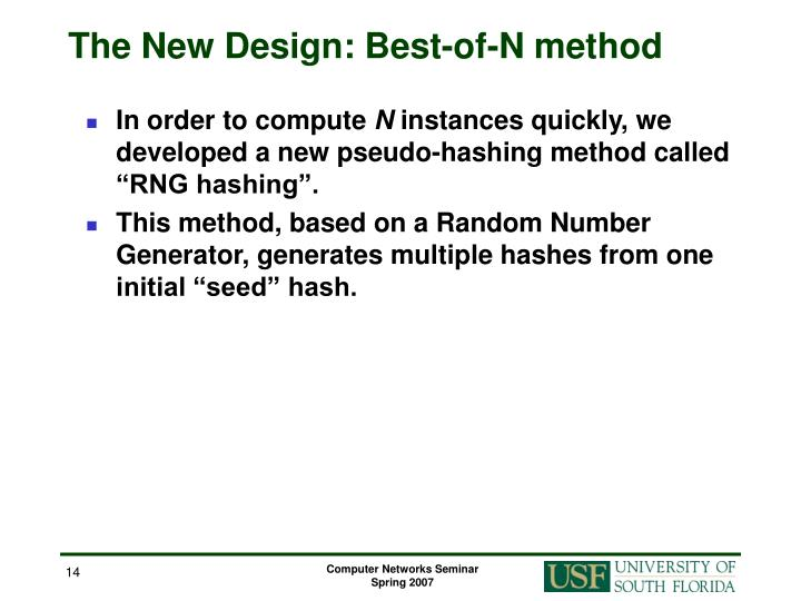 The New Design: Best-of-N method
