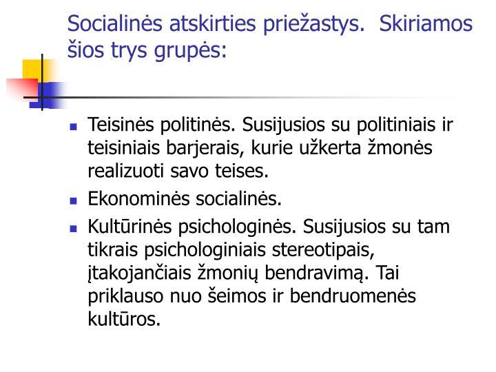 Socialinės atskirties priežastys.  Skiriamos šios trys grupės: