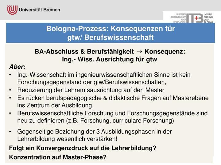 Bologna-Prozess: Konsequenzen für