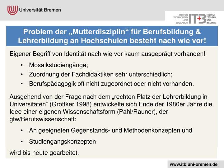 """Problem der """"Mutterdisziplin"""" für Berufsbildung & Lehrerbildung an Hochschulen besteht nach wie vor!"""