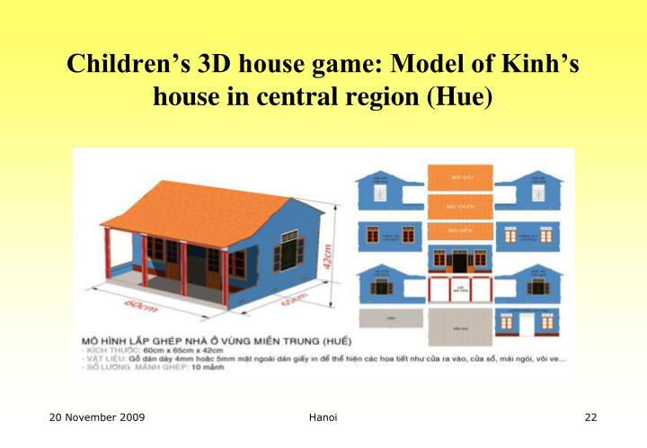 Children's 3D house game: Model of Kinh's house in central region (Hue)