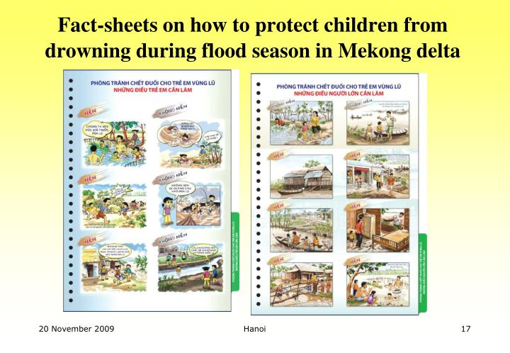 Fact-sheets on how to protect children from drowning during flood season in Mekong delta