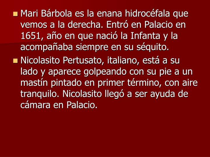 Mari Brbola es la enana hidrocfala que vemos a la derecha. Entr en Palacio en 1651, ao en que naci la Infanta y la acompaaba siempre en su squito.