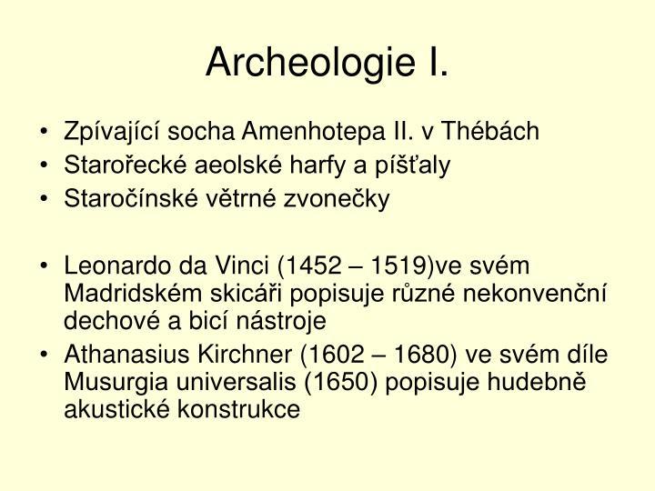 Archeologie I.