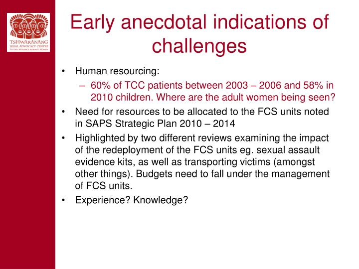 Early anecdotal indications of challenges