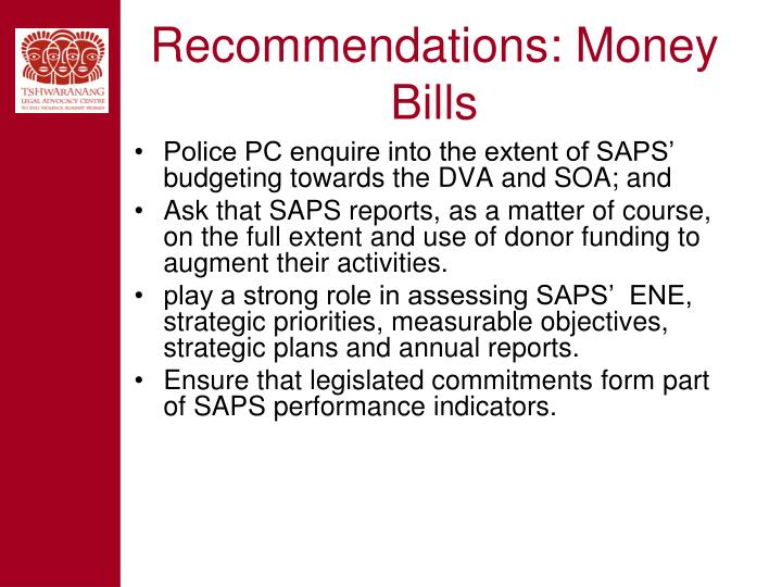 Recommendations: Money Bills