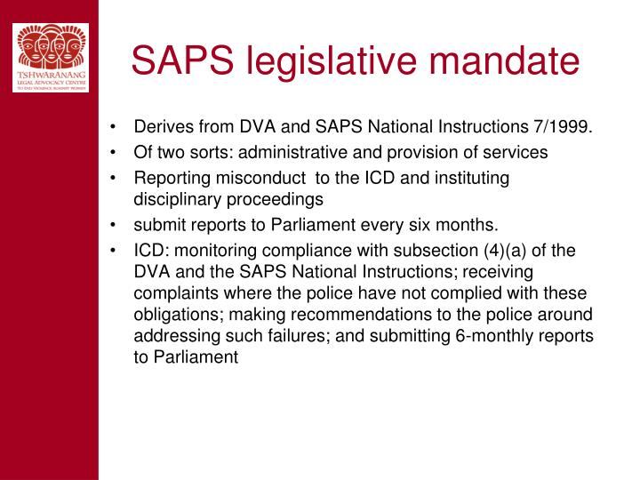SAPS legislative mandate