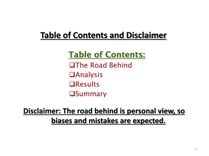 Table of Contents and Disclaimer