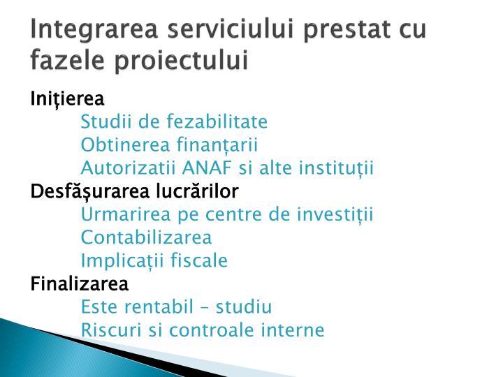 Integrarea serviciului prestat cu fazele proiectului
