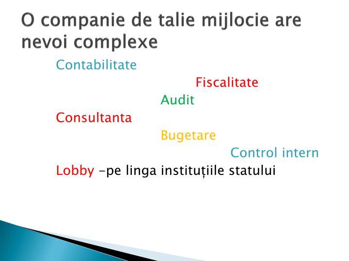 O companie de talie mijlocie are nevoi complexe