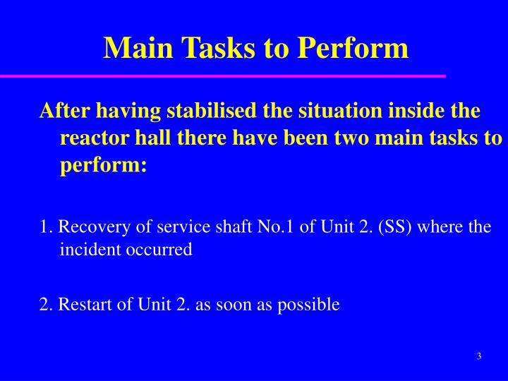 Main Tasks to Perform