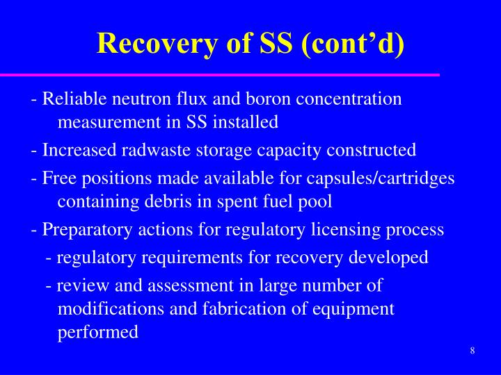 Recovery of SS (cont'd)