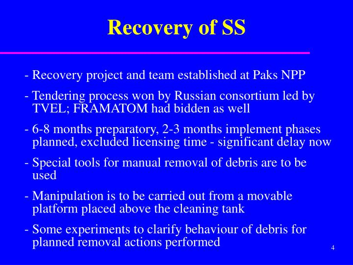 Recovery of SS