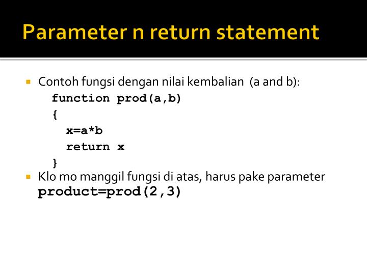 Parameter n return statement