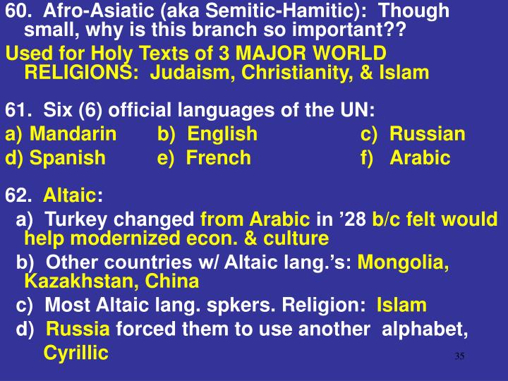 60.  Afro-Asiatic (aka Semitic-Hamitic):  Though small, why is this branch so important??