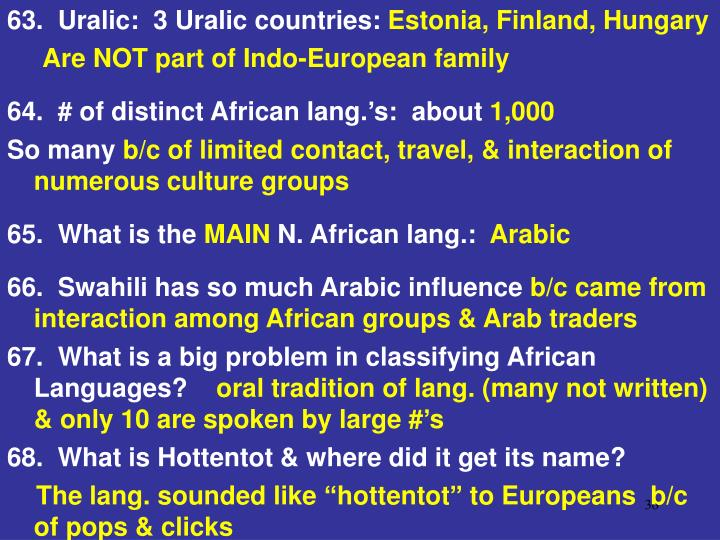 63.  Uralic:  3 Uralic countries: