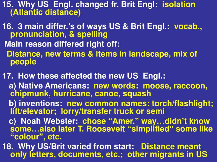 15.  Why US  Engl. changed fr. Brit Engl: