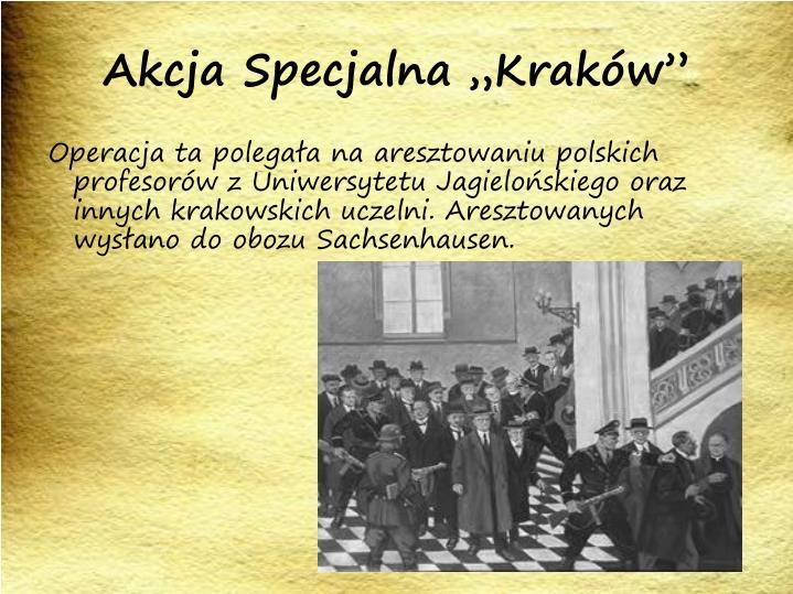 """Akcja Specjalna """"Kraków"""""""