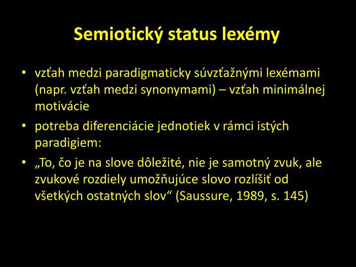 Semiotický status lexémy