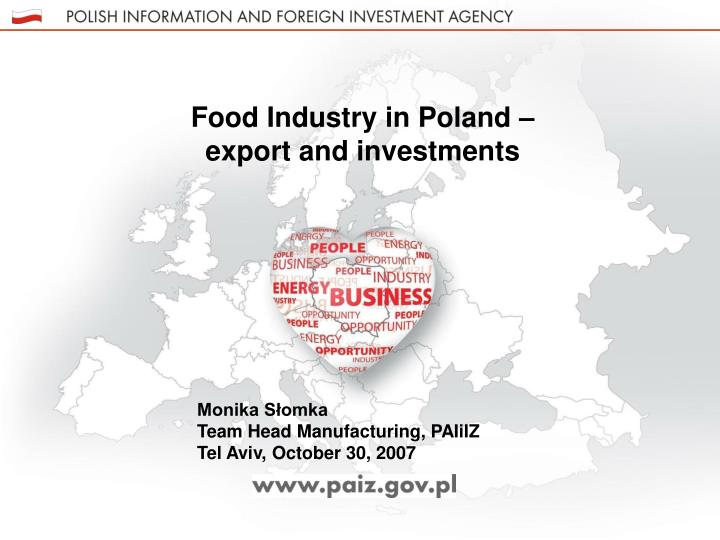 Food Industry in Poland – export and investments