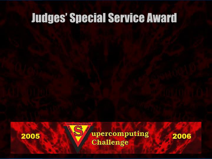 Judges' Special Service Award