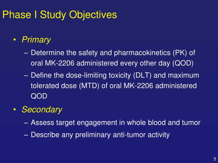 Phase I Study Objectives