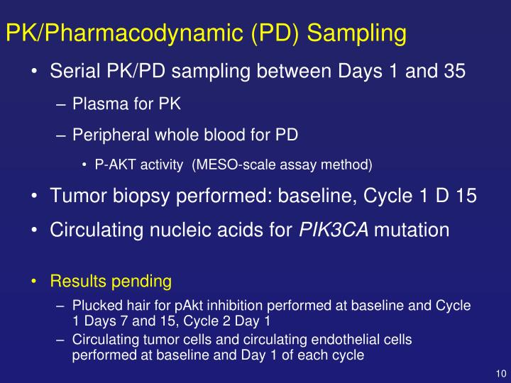 PK/Pharmacodynamic (PD) Sampling