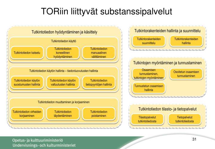 TORiin liittyvät substanssipalvelut