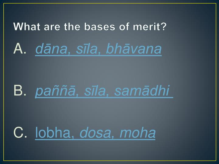 What are the bases of merit?