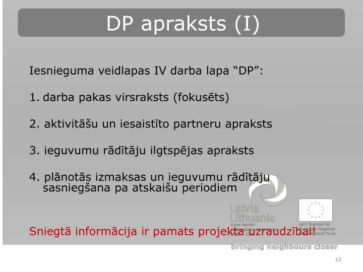 DP apraksts (I)