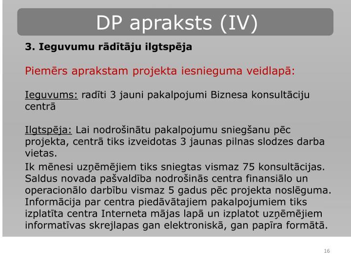 DP apraksts (IV)