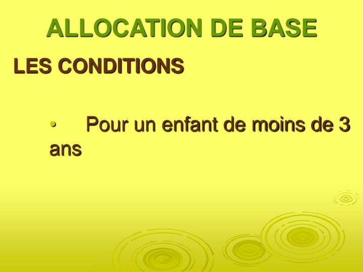 ALLOCATION DE BASE