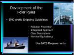 development of the polar rules