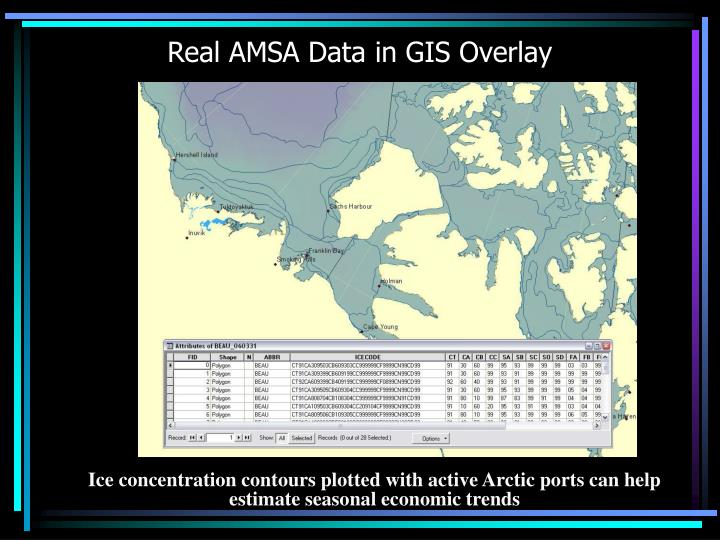 Real AMSA Data in GIS Overlay