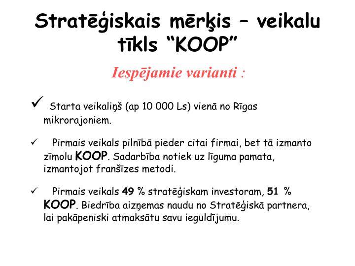 """Stratēģiskais mērķis – veikalu tīkls """"KOOP"""""""