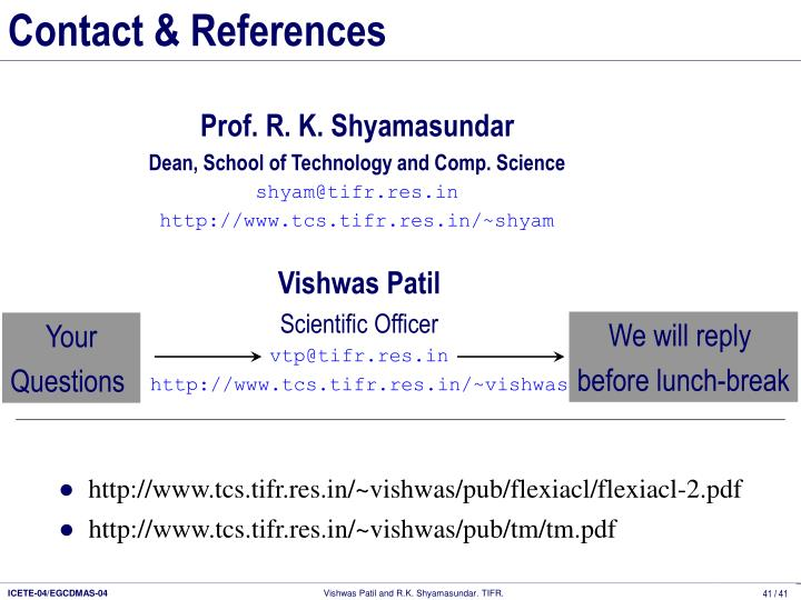 Contact & References