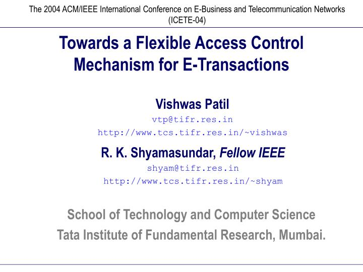 Towards a flexible access control mechanism for e transactions