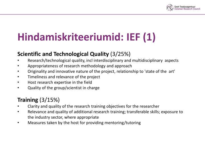 Hindamiskriteeriumid: IEF (1)