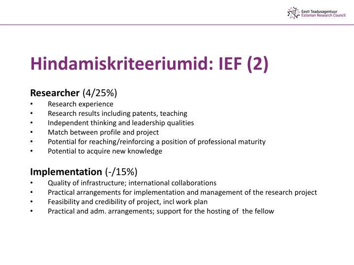 Hindamiskriteeriumid: IEF (2)