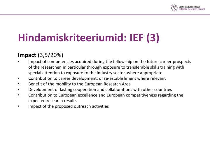 Hindamiskriteeriumid: IEF (3)