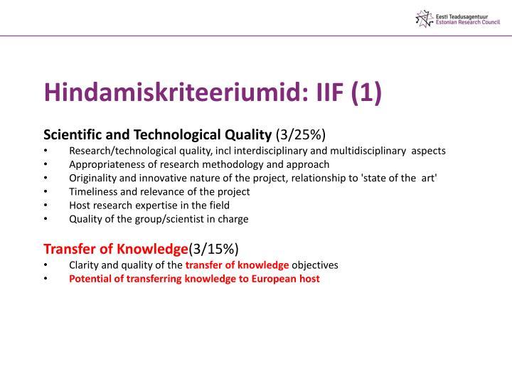 Hindamiskriteeriumid: IIF (1)