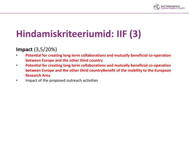 Hindamiskriteeriumid: IIF (3)