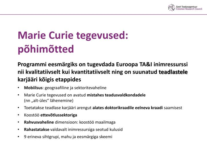 Marie Curie tegevused: