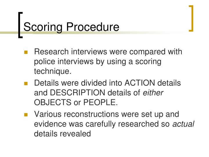 Scoring Procedure