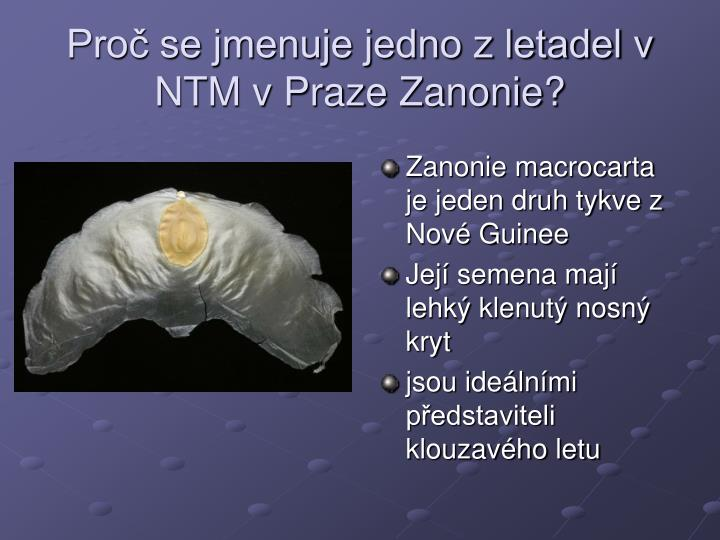 Proč se jmenuje jedno z letadel v NTM v Praze Zanonie?